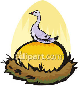 Goose on a Giant Golden Egg Royalty Free Clipart Picture.