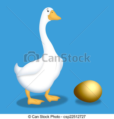 Clip Art of Goose With Golden Egg.