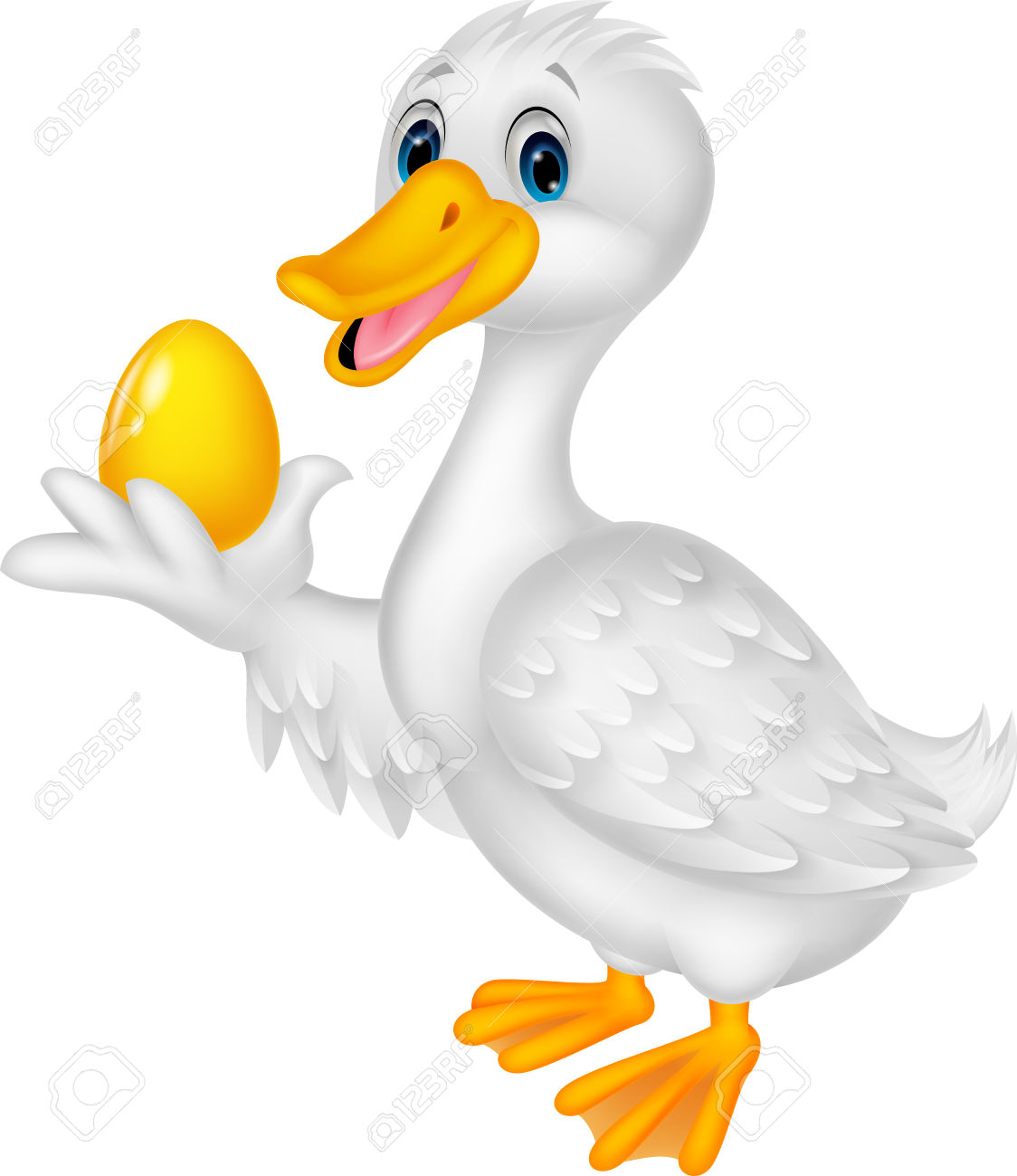 Cute Duck Cartoon Holding Golden Egg Royalty Free Cliparts.
