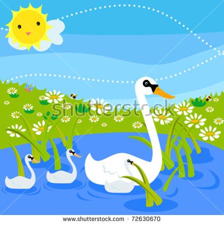 Swan Family Stock Vector Illustration 72630670 : Shutterstock.