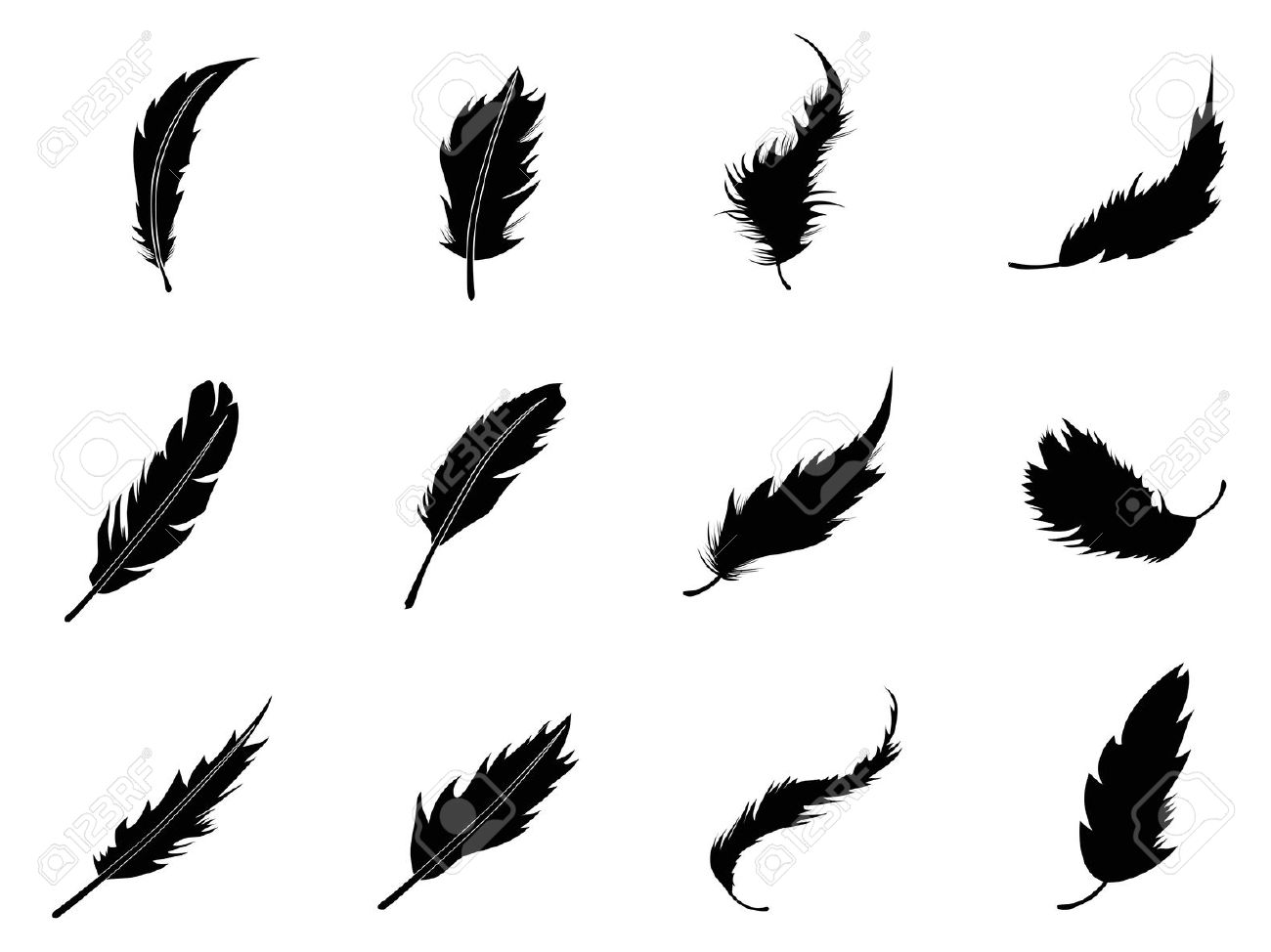 Feather clipart silhouette.