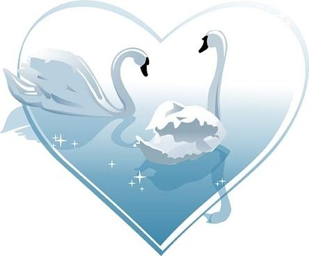 swan heart clipart #11
