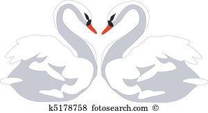 swan heart clipart #1