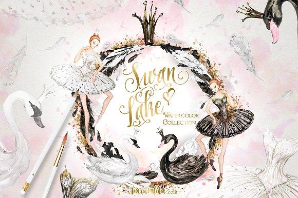 Watercolor Swan Lake ~ Illustrations on Creative Market.
