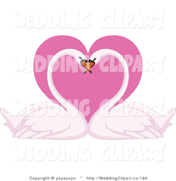 Vector Marriage Clipart of a Wedding Romantic Swan Pair with Their.