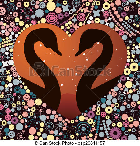 Clipart Vector of swans in Love.