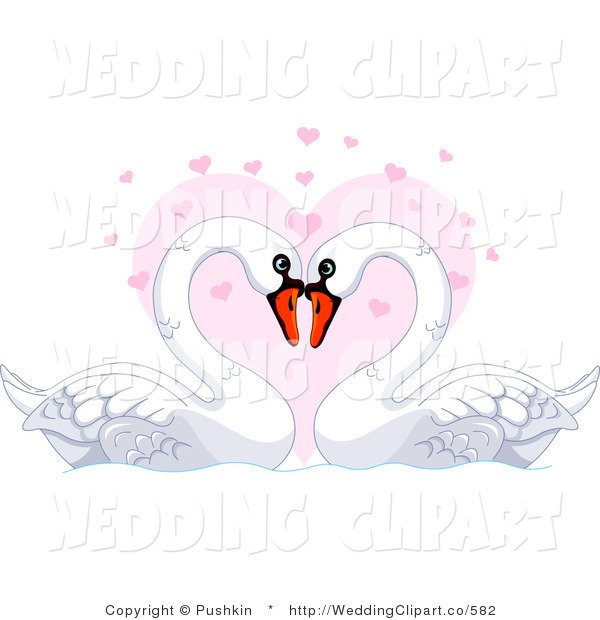 Vector Cartoon Marriage Clipart of a Wedding Mute Swan Pair over a.