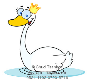 Clipart Illustration of A Fairytale Swan Princess Wearing a.