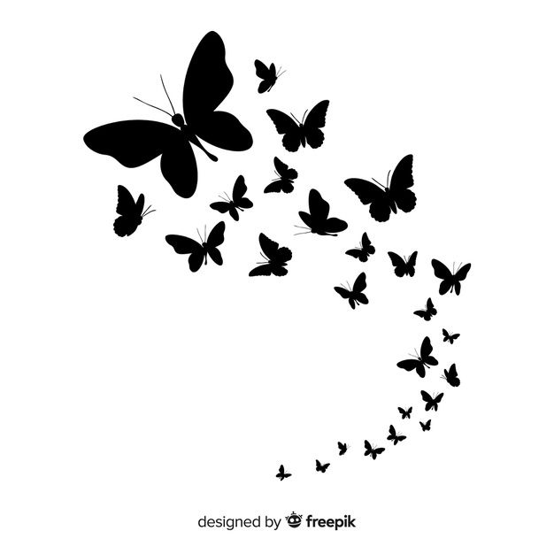 Butterfly swarm silhouette background Free Vector.