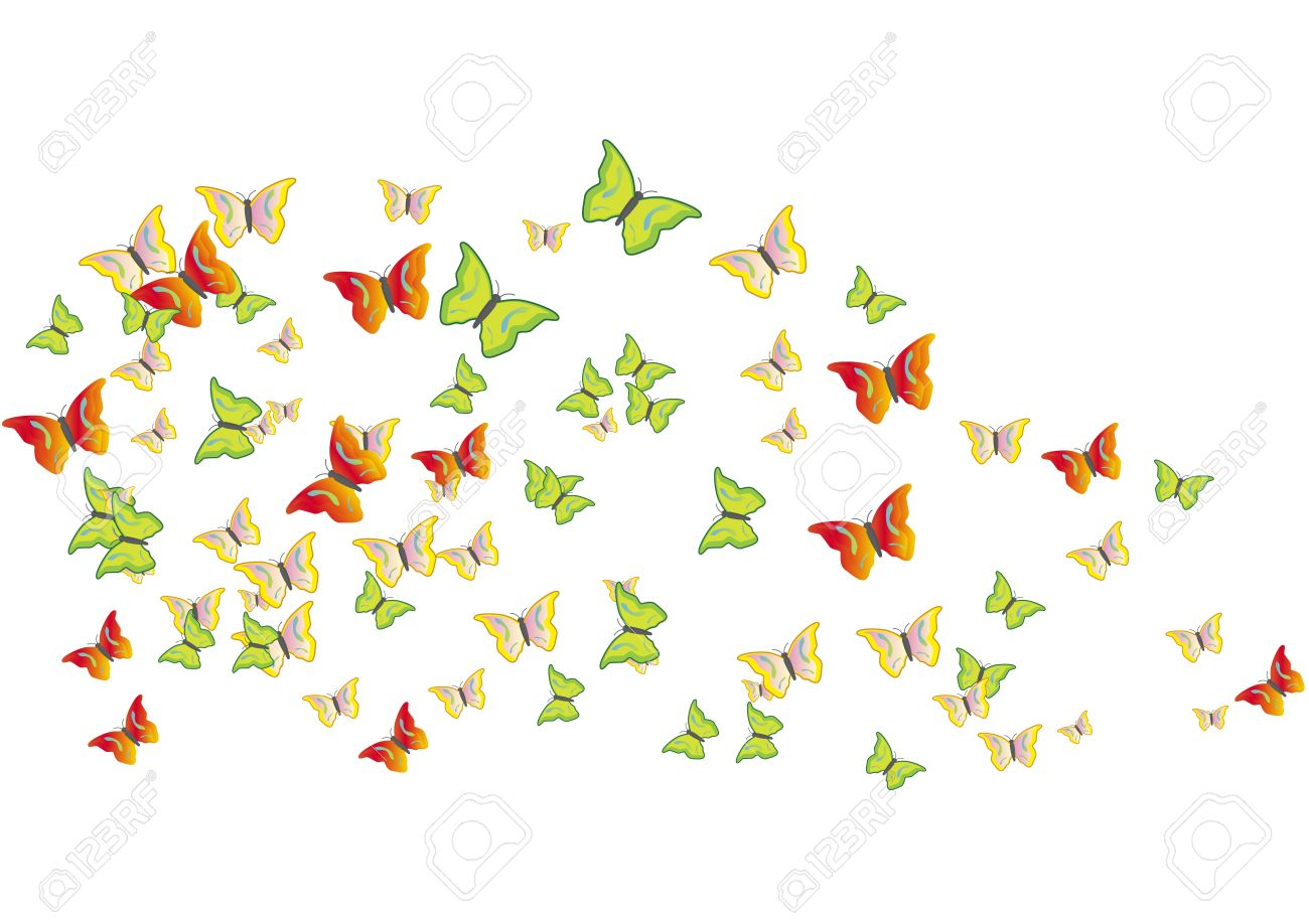 Swarm Of Butterfly Clipart.