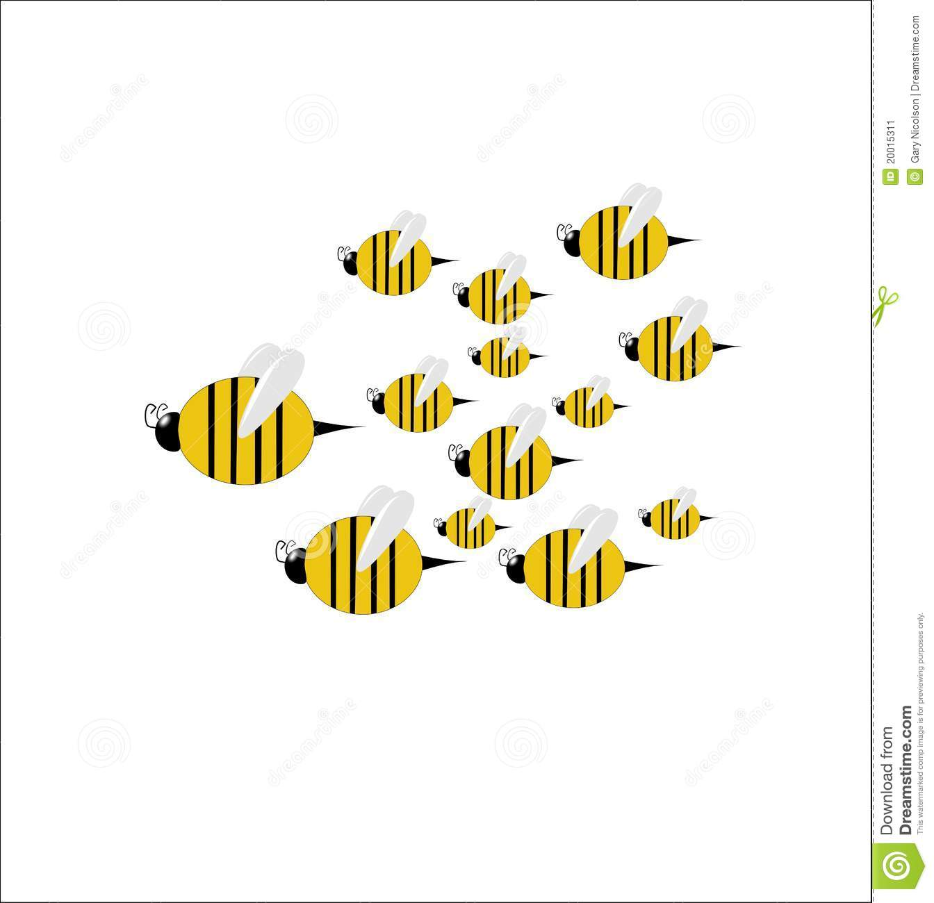 A swarm of bees clipart.