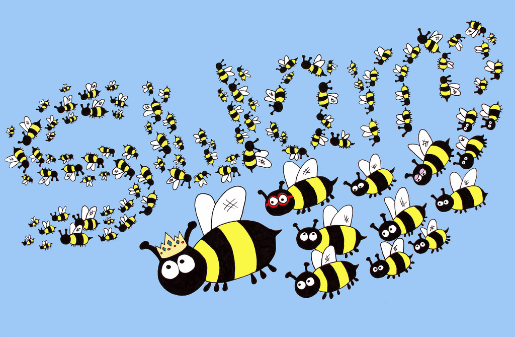 Swarm of bees clipart.