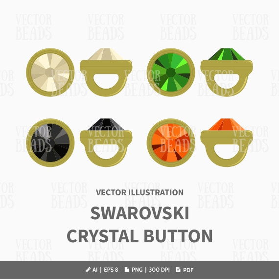Crystaletts, Swarovski Crystal Buttons Vector Illustration.