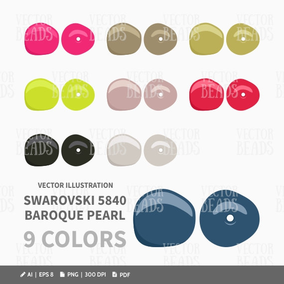 Swarovski 5840 Baroque Pearls Vector Clip Art.