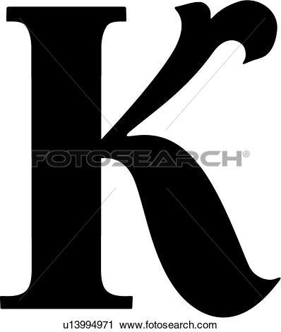 Clipart of , uppercase, alphabet, capital, k, letter, lettered.