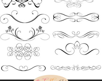 Swashes Swirls Calligraphy Swashes Clip Art by CandyShopDigitalArt.