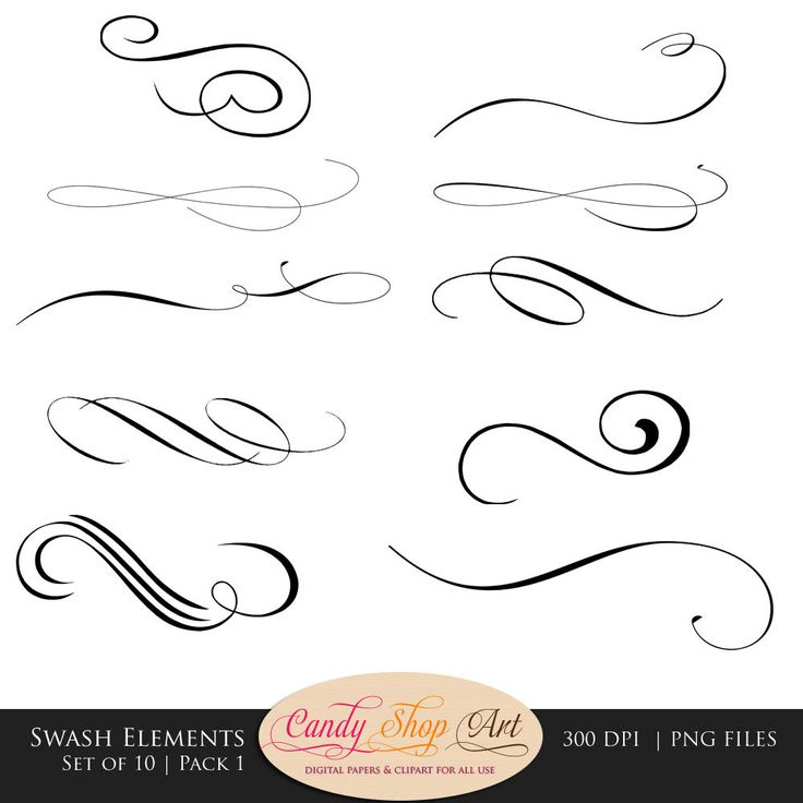 Swashes, Swirls, Calligraphy Swashes, Clip Art, Digital Clip Art.