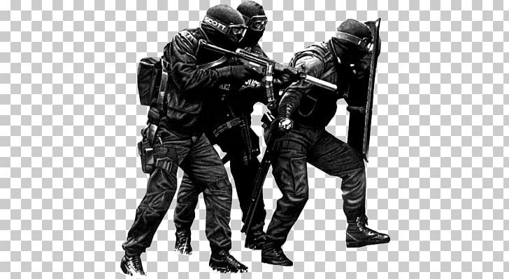 Group Of Swat Officers, three men in black combat suit.