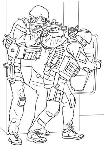 FBI SWAT Team coloring page.