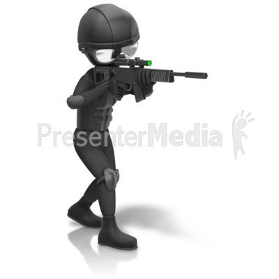 SWAT Figure Holding Gun.