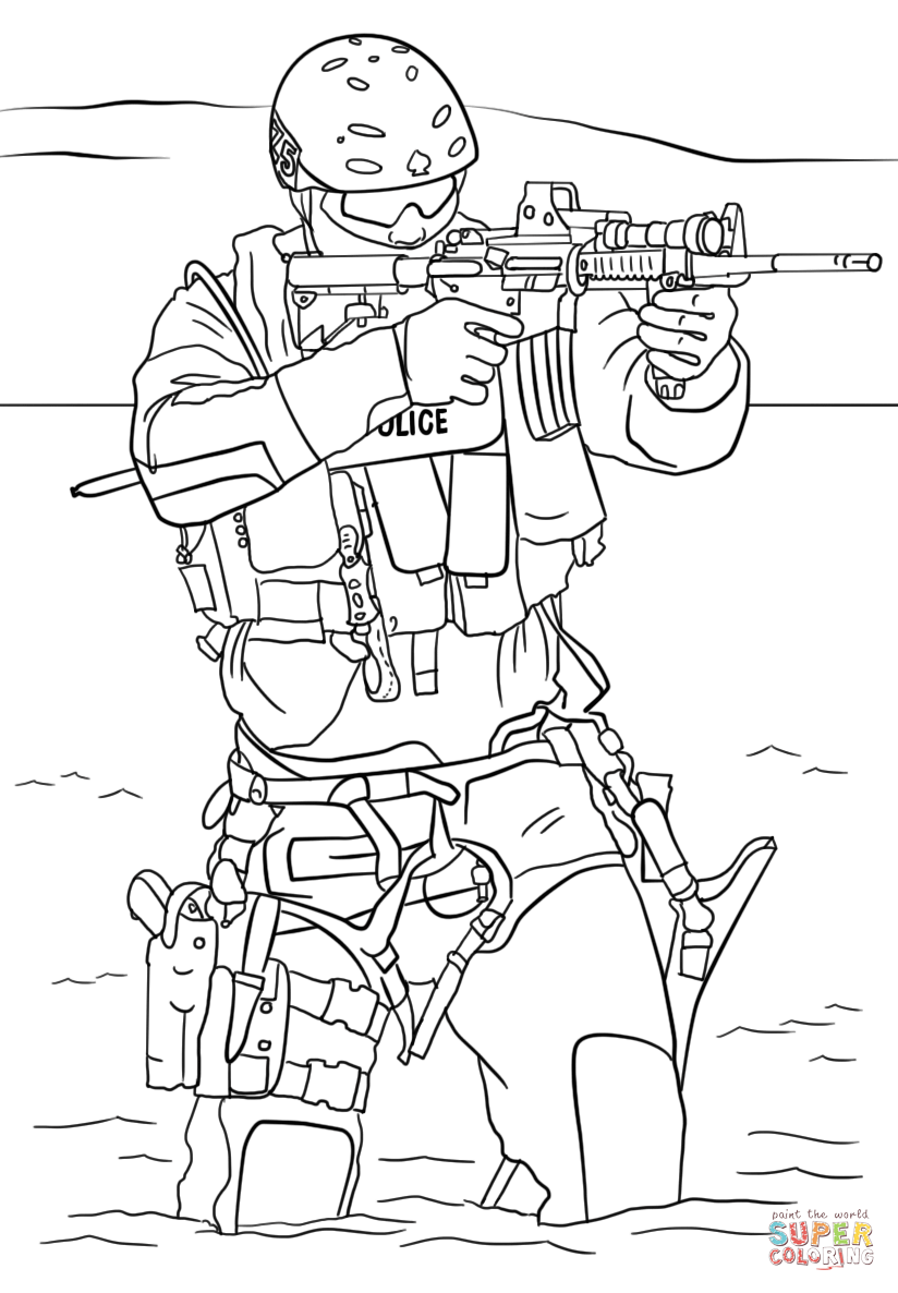 SWAT Police coloring page.