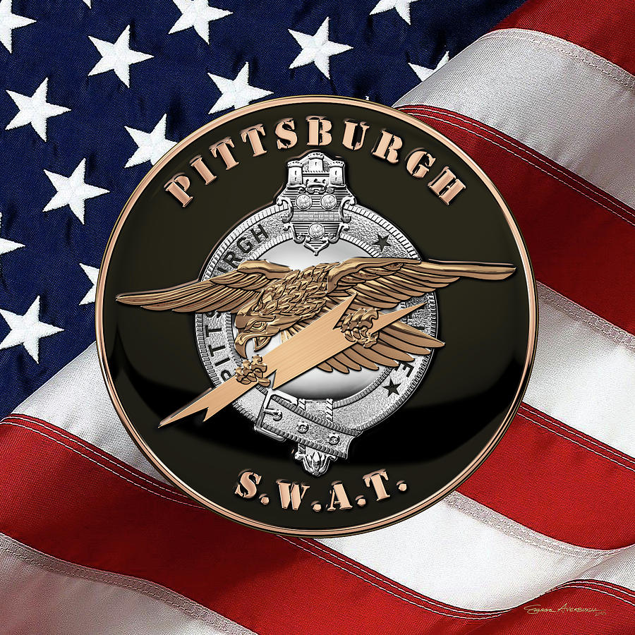 Pittsburgh Police S. W. A. T. Team Emblem Over American Flag.