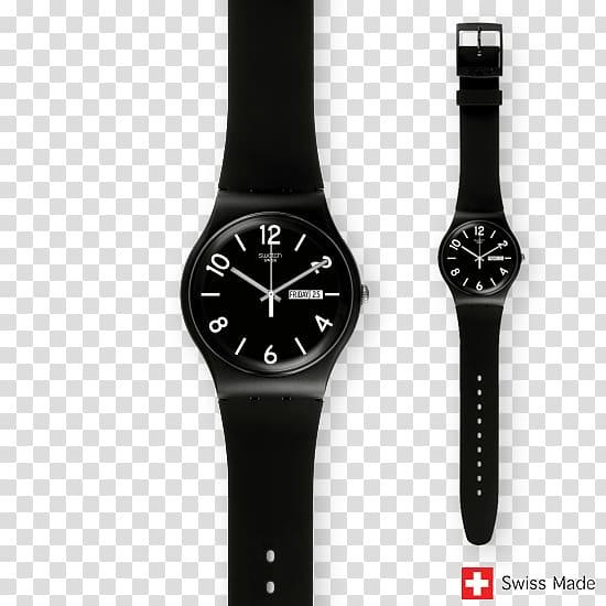 Swatch Quartz clock Swiss made, watch transparent background.