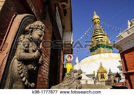Picture of Swayambhu, religious center of pilgrimage for both.