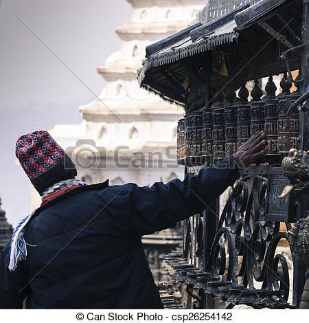 Stock Photo of Prayer Wheels at Swayambhu, Kathmandu, Nepal.