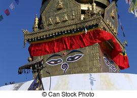 Stock Image of Swayambhunath Eyes.