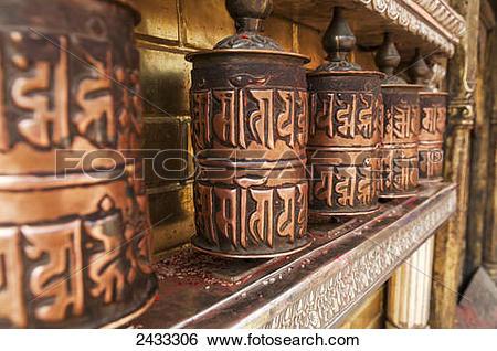 Stock Images of Tibetan rolls from Swayambhu Temple; Kathmandu.