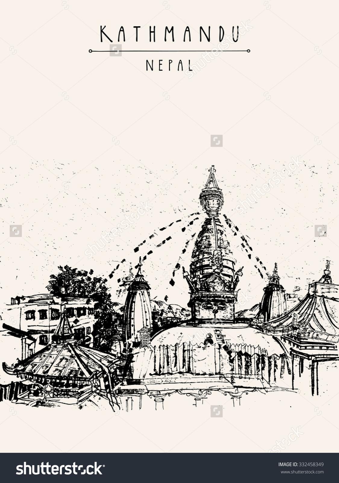 Swayambhu Temple Kathmandu Nepal Before Earthquake Stock Vector.