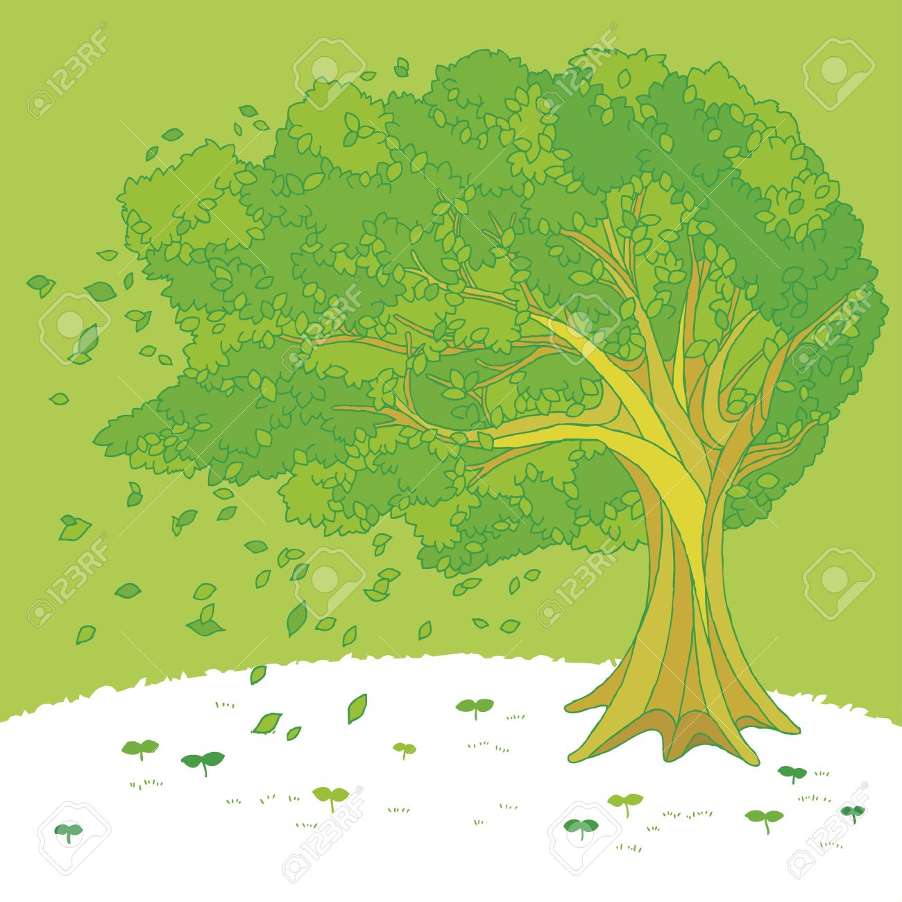 Illustration Of A Tree Swaying In The Wind Royalty Free Cliparts.