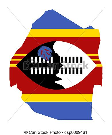 Clipart of Swaziland map flag.