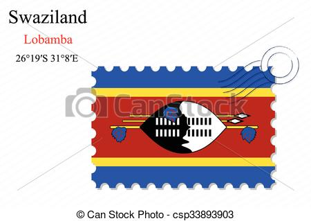 Vector Clipart of swaziland stamp design over stripy background.