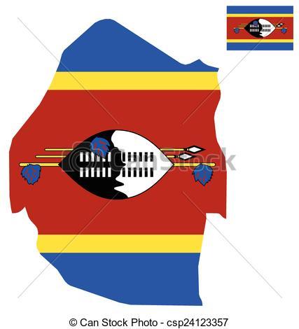 Clipart Vector of Swaziland Flag.