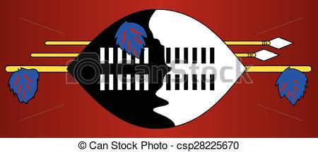 Vectors Illustration of Swaziland Native Shield Flag.