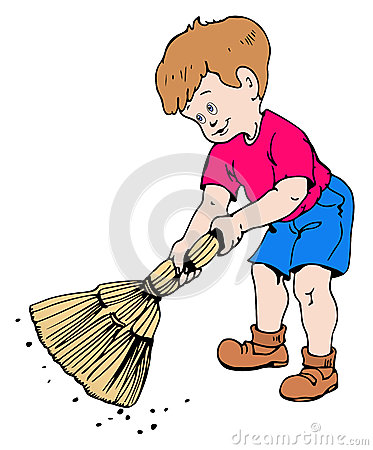 Child sweeping clipart.