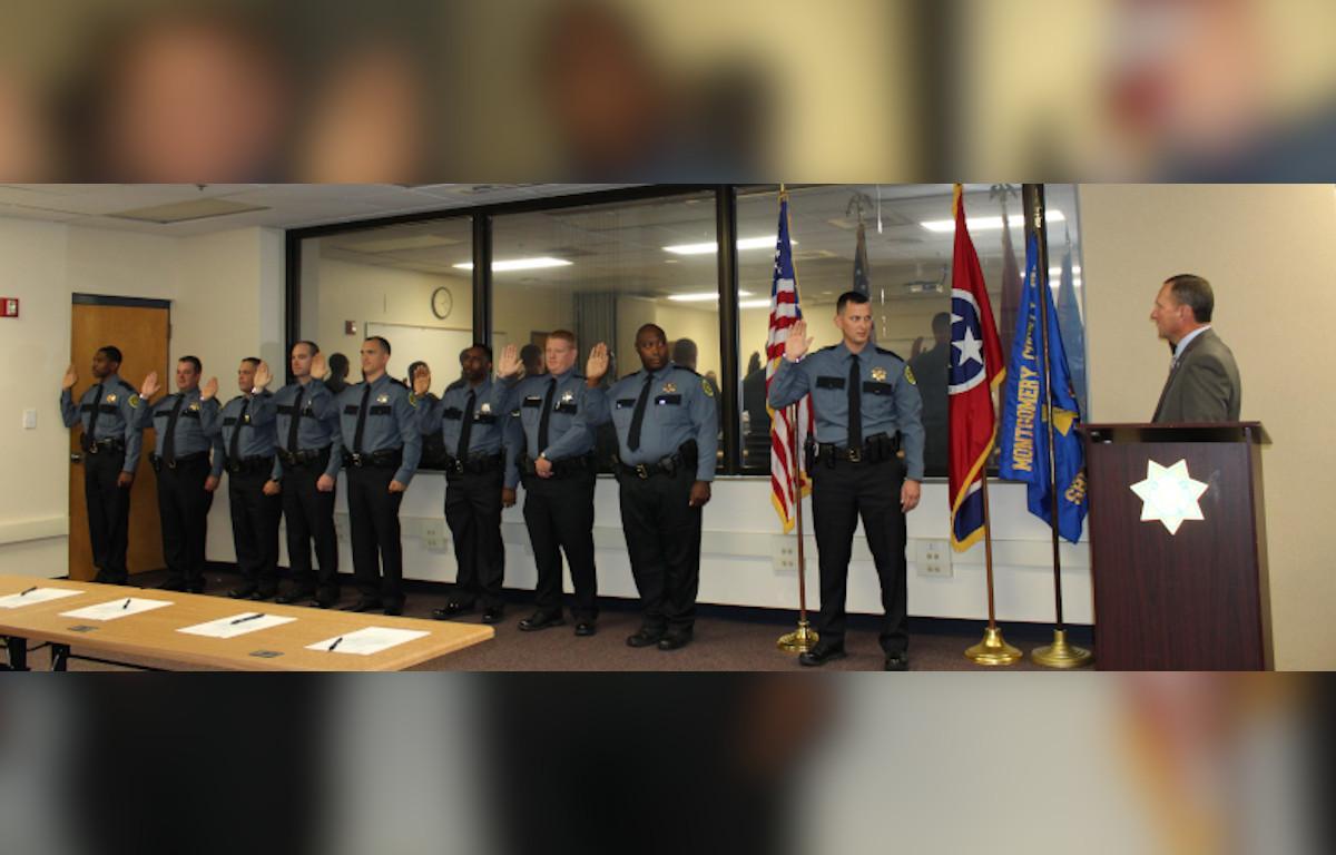 Nine new Montgomery County Sheriff\'s deputies sworn.