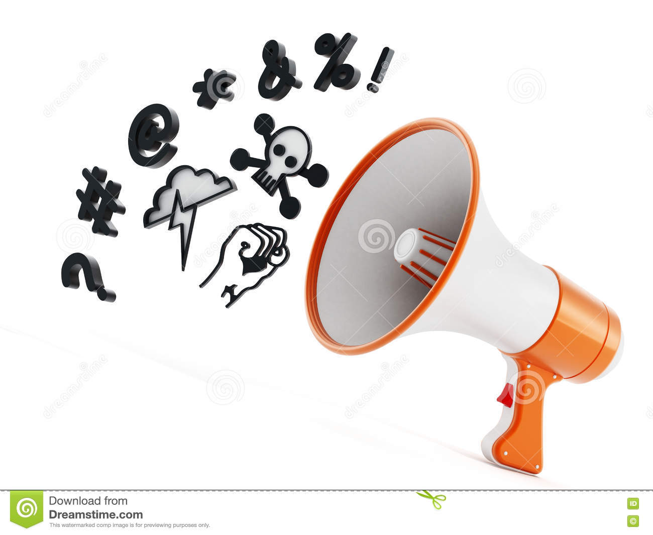 Megaphone With Swearing Symbols Isolated On White Background. 3D.
