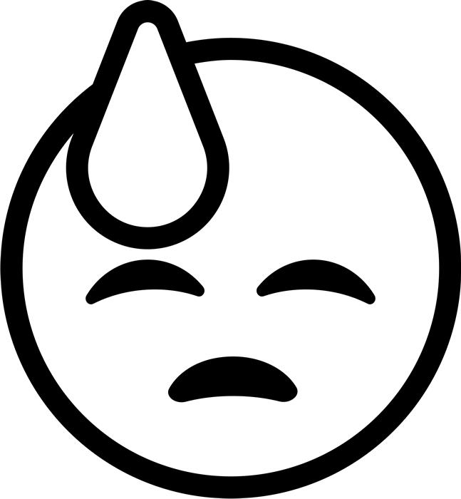 Cold Sweat Emoji Stamp.