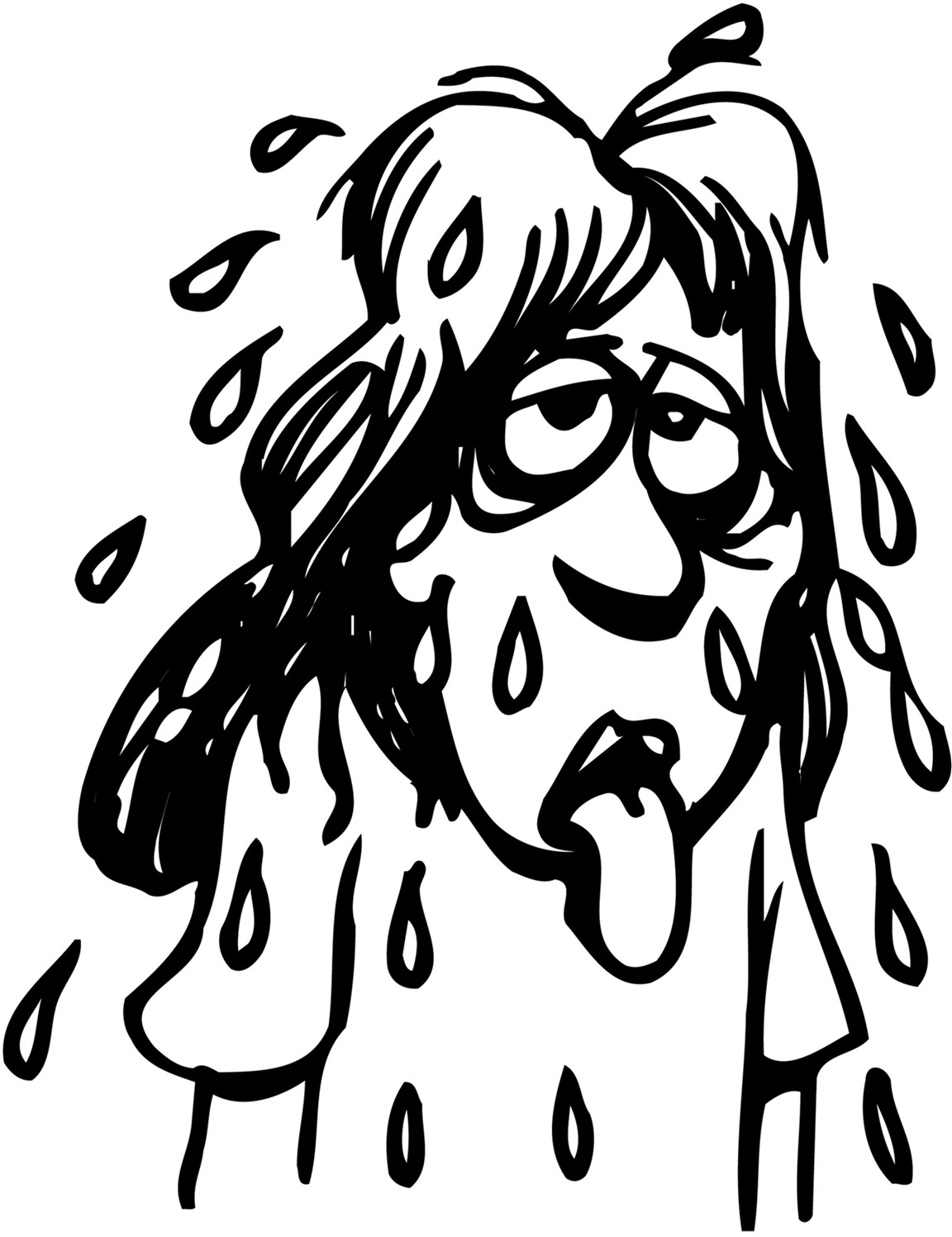 Sweating Girl Clipart.