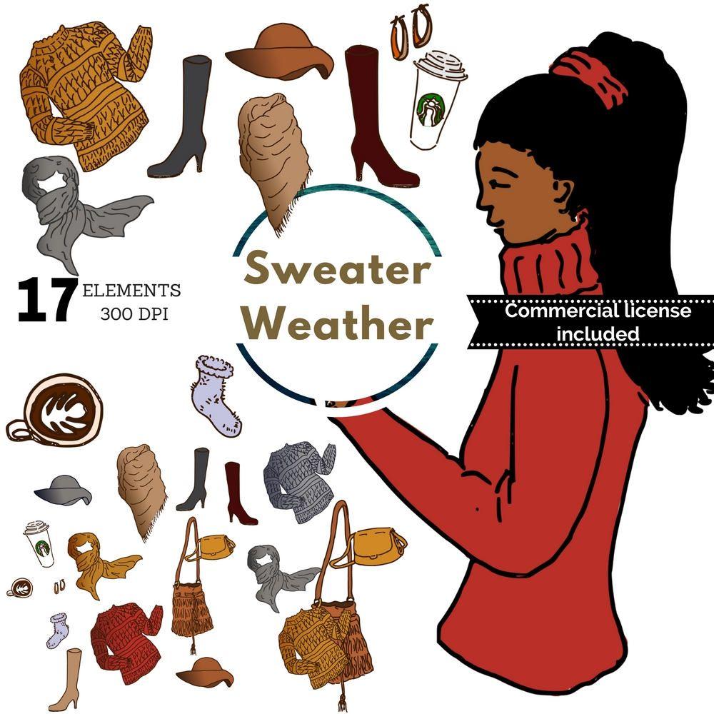 Winter clip art, winter planner stickers, sweater weather.