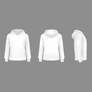 Vector 3d Realistic Hoodie Sweatshirt White Mockup, Pullover.