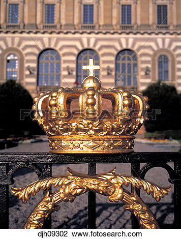 Stock Photo of Crown at Royal Palace Gate Stockholm, Sweden.