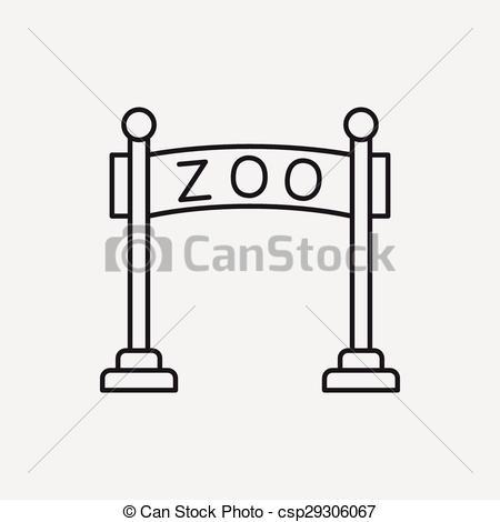 Clip Art Vector of zoo gate line icon csp29306067.