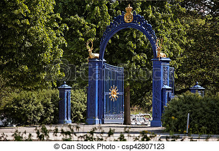Stock Photo of Blue Gate on the island of Djurgarden. Stockholm.