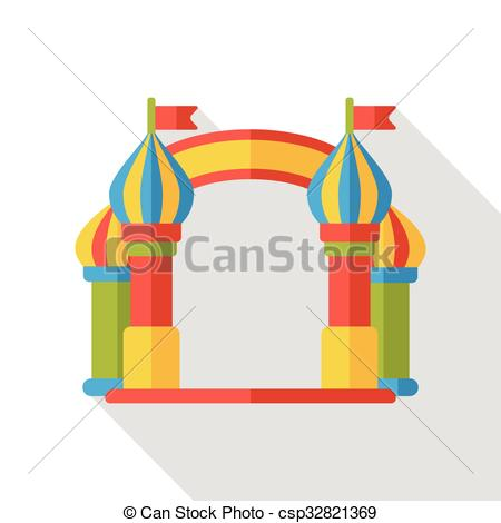 Clip Art Vector of amusement park gate flat icon csp32821369.