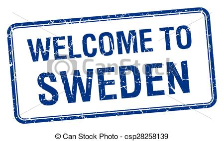 Vectors of welcome to Sweden blue grunge square stamp csp28258139.