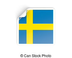 Square sticker with flag of sweden Clip Art and Stock.